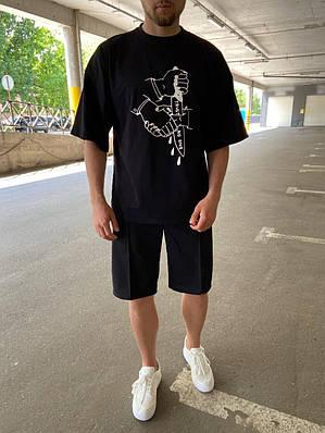 Чоловіча чорна футболка оверсайз з малюнком бавовна Trust