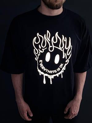 Чоловіча чорна футболка оверсайз з малюнком бавовна ОК reflective