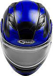 Шолом GMax Black/Blue MD01S модуляр з подвійним визором, фото 2