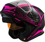 Шлем GMax Pink/Black MD01S модуляр с двойным визором, фото 3