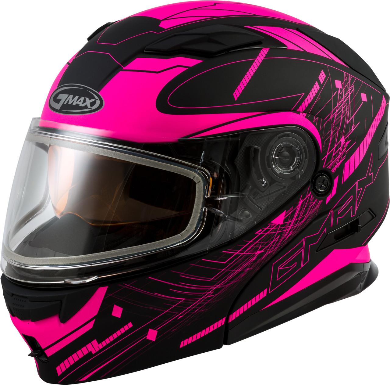 Шлем GMax Pink/Black MD01S модуляр с двойным визором