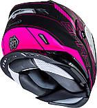 Шлем GMax Pink/Black MD01S модуляр с двойным визором, фото 5