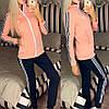Жіночий молодіжний спортивний костюм з дайвінгу: кофта з коміром стійкою і штани з лампасами, фото 3