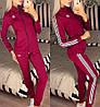 Жіночий молодіжний спортивний костюм з дайвінгу: кофта з коміром стійкою і штани з лампасами, фото 4