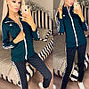 Жіночий молодіжний спортивний костюм з дайвінгу: кофта з коміром стійкою і штани з лампасами, фото 5