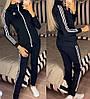 Жіночий молодіжний спортивний костюм з дайвінгу: кофта з коміром стійкою і штани з лампасами, фото 6