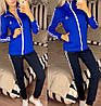 Жіночий молодіжний спортивний костюм з дайвінгу: кофта з коміром стійкою і штани з лампасами, фото 7