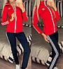 Жіночий молодіжний спортивний костюм з дайвінгу: кофта з коміром стійкою і штани з лампасами, фото 9