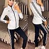Женский молодежный спортивный костюм из дайвинга: кофта с воротом стойкой и штаны с лампасами, фото 4
