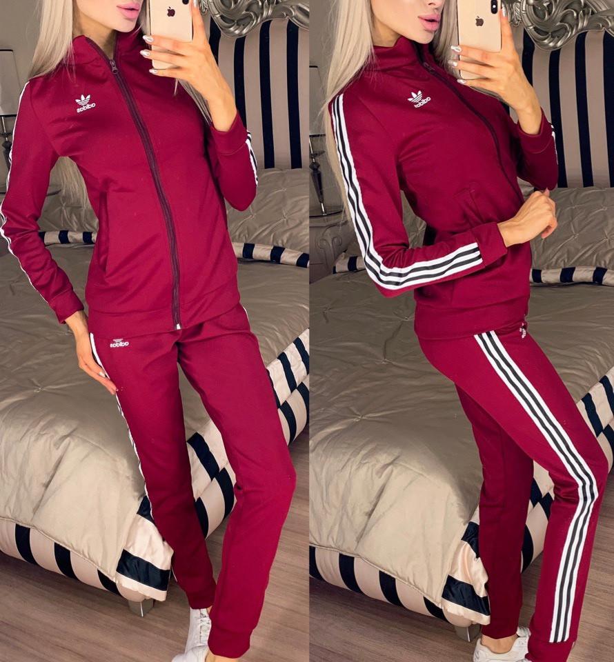 Женский молодежный спортивный костюм из дайвинга: кофта с воротом стойкой и штаны с лампасами