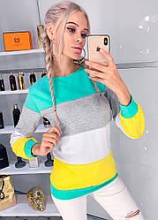 Женский молодежный осенний трикотажный свитшот кофта в разноцветные широкие полосы