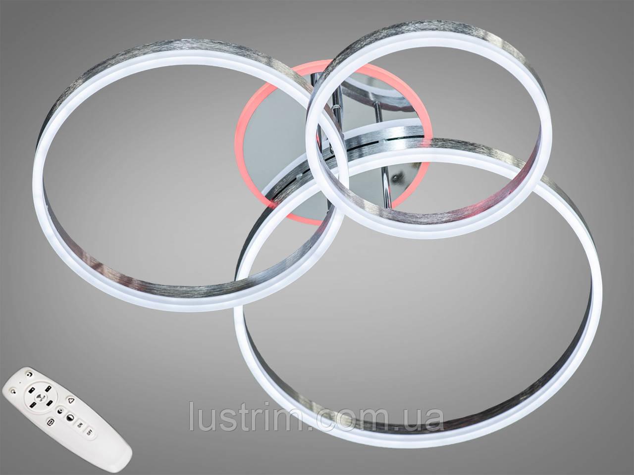 Світлодіодна люстра з діммером і LED підсвічуванням, колір чорний хром, 150W