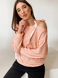 Женская молодежная кофта с открытыми плечами и лентами завязками