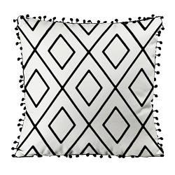 Подушка из мешковины с помпонами Орнамент ромб в ромбе 45x45 см (45PHBP_FLORA004)