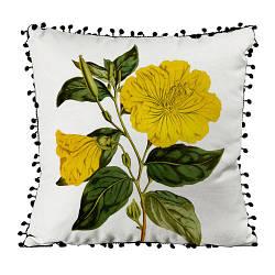 Подушка из мешковины с помпонами Желтый цветок 45x45 см (45PHBP_FLORA003)