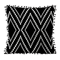Подушка из мешковины с помпонами Орнамент с ромбов 45x45 см (45PHBP_CASA003)