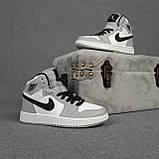 Мужские кроссовки Nike Air Jordan Белые с серым, фото 2