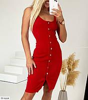 Стильне облягаюче плаття-майка до коліна, на гудзиках тканина рібана р-ри 42-48 арт. 768, фото 1