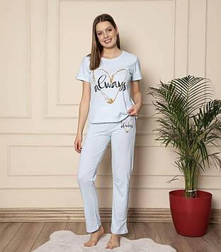 Пижама женская голубая футболка и штаны код П309