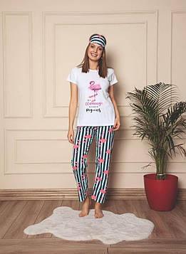 Пижама женская белая футболка и штаны код П311