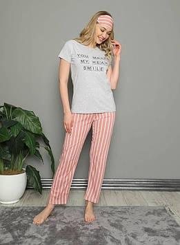 Пижама женская серая футболка и штаны код П313