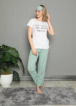 Пижама женская белая футболка и штаны код П314