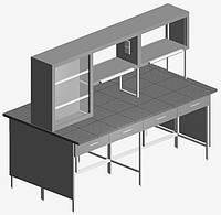 Стол островной с титровальным табло и ящиками