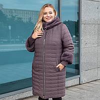 Зимнее женское пальто большого размера 50-60 шоколад
