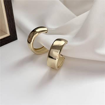 Серьги кольца золотистые код 2106