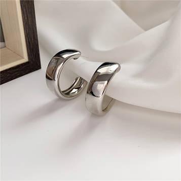 Серьги кольца серебристые код 2106