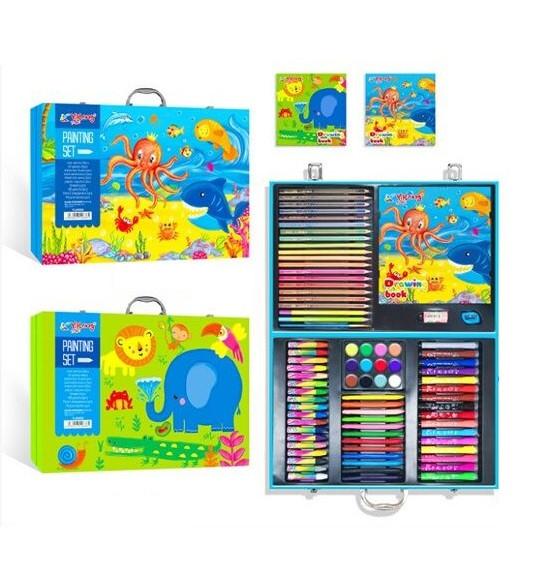 Набор юного художника для рисования в кейсе с красками, карандашами, альбомом и фломастерами С 45352 (2 вида)