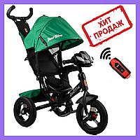 Детский трехколесный велосипед коляска с родительской ручкой Best Trike Велосипед с откидной спинкой Зеленый