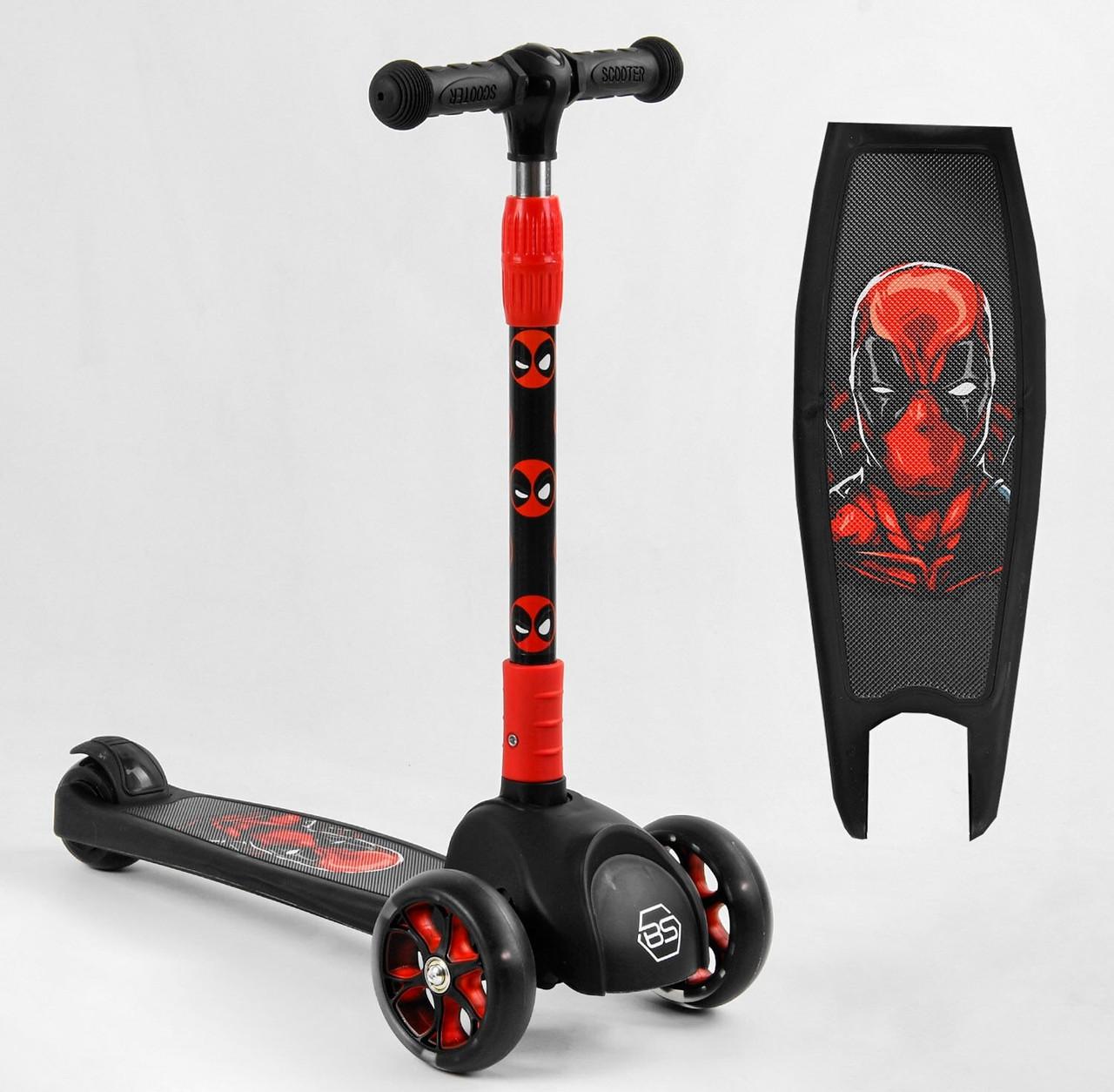 Самокат дитячий з підсвічуванням коліс і дисків, легке управління, складане кермо 79166 Best Scooter, колір червоний