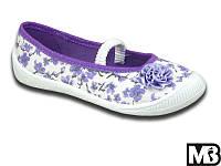 Текстильные тапочки для девочки MB Польша (мокасины, кеды, тапки, текстильная обувь) фиолетовые цветы