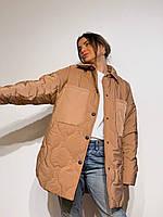 Жіноча стеганная куртка-сорочка