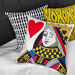 Подушка інтер'єрна з мішковини Queen of my heart 45x45 см (45PHB_21L007)
