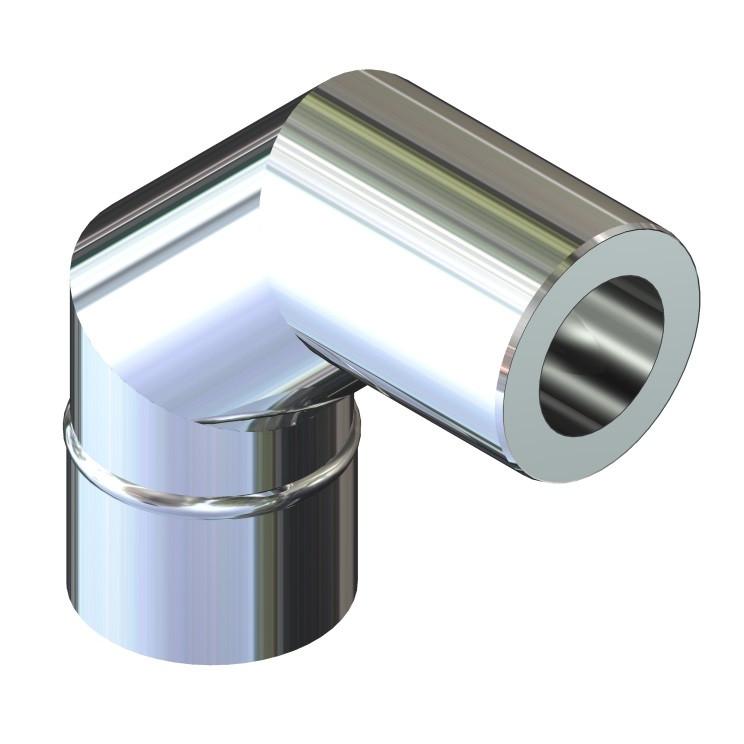 Отвод 90° для дымохода ø 160/220 н/н 0,8 мм