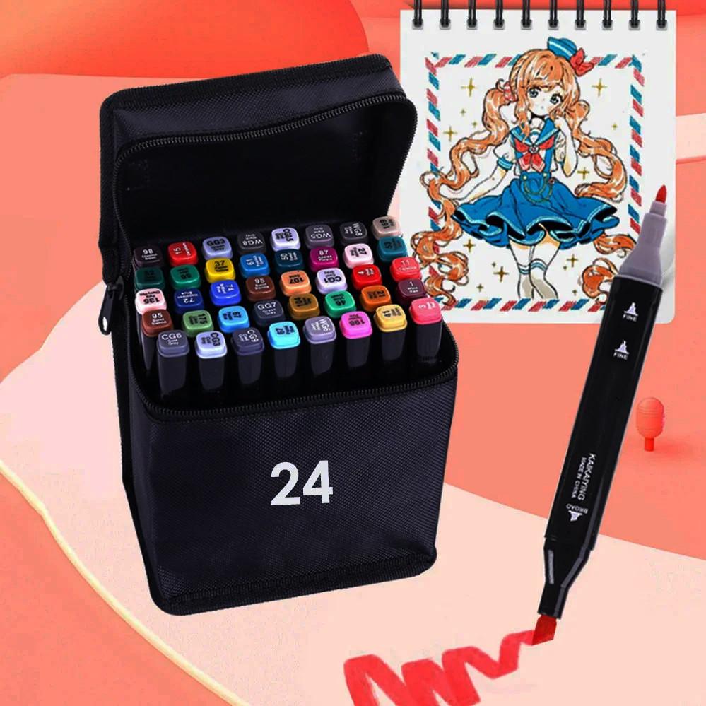 Набір скетч маркерів 24 шт для малювання двосторонні професійні спиртові фломастери