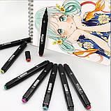 Набір скетч маркерів 24 шт для малювання двосторонні професійні спиртові фломастери, фото 9