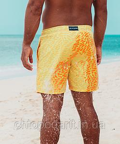 Шорты хамелеон для плавания, пляжные мужские спортивные меняющие цвет жёлтые с рисунком размер XL код 26-0005
