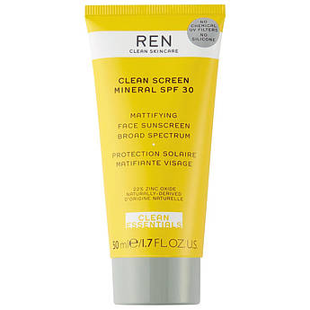 Солнцезащитный матирующий крем REN Clean Skincare Clean Screen Mineral SPF30 50 мл