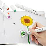 Набор скетч маркеров 36 шт для рисования фломастеры для рисования спиртовые двухсторонние белые, фото 7