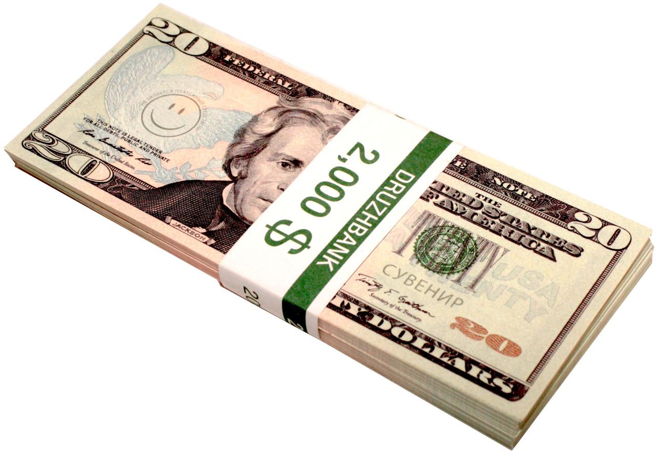 """Деньги сувенирные """"20 Dollars"""" (2,000$) пачка денег, фото 2"""