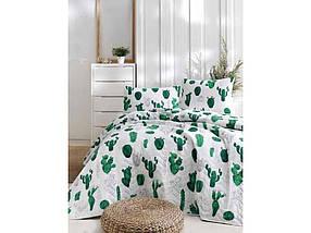 Покривало стьобане з наволочками Kaktus yesil зелений 200*220 ТМ EPONJ HOME