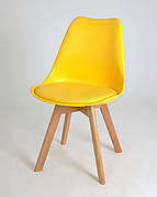 Стілець обідній пластиковий на дерев'яних ніжках Milan , жовтий 14