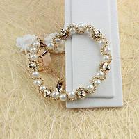 Жемчужный браслет с позолотой 005-0405