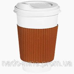Термопояс оранжевый (термодержатель, капхолдер) для бумажного стакана клееный (упаковка 100шт.)