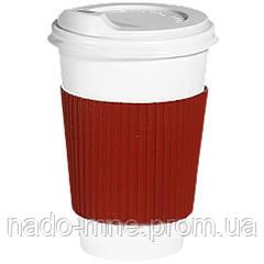 Термопояс красный (термодержатель, капхолдер) для бумажного стакана клееный (упаковка 100шт.)