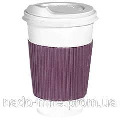 Термопояс фиолетовый (термодержатель, капхолдер) для бумажного стакана клееный (упаковка 100шт.)