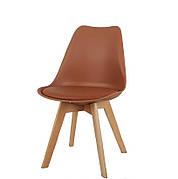 Стілець обідній пластиковий на дерев'яних ніжках Milan , коричневий 91